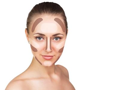 Make-up Frau Gesicht. Contour und Highlight Make-up. Isoliert auf weiß
