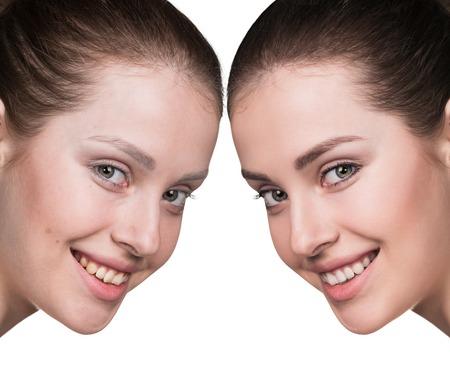 Vergleich Porträt einer Frau mit Make-up und ohne Standard-Bild - 57346683