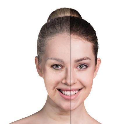 arrugas: Edad y una mujer joven, aislado en blanco, antes y después de retoca, tratamientos de belleza, el concepto de envejecimiento.