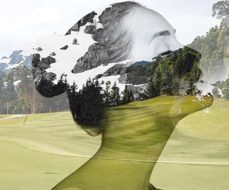 Double exposure portrait of attractive lady combined with photograph of nature. Foto de archivo