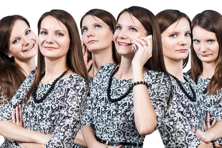 arrogancia: Collage de la mujer joven con diversas emociones aisladas sobre fondo blanco