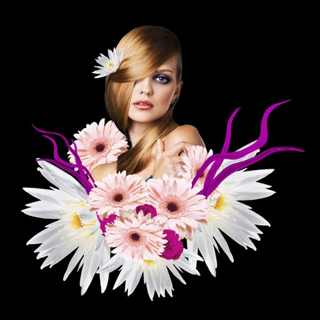 appears: Young attractive woman with clean skin appears from bouquet flowers over black background