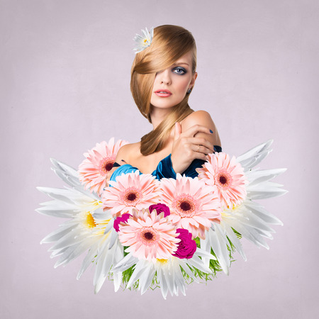 appears: Young attractive woman with clean skin appears from bouquet flowers over purple background