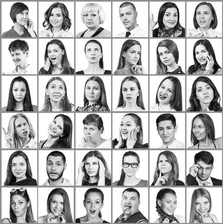 expressing: Collage of diverse people expressing different emotions over blue background