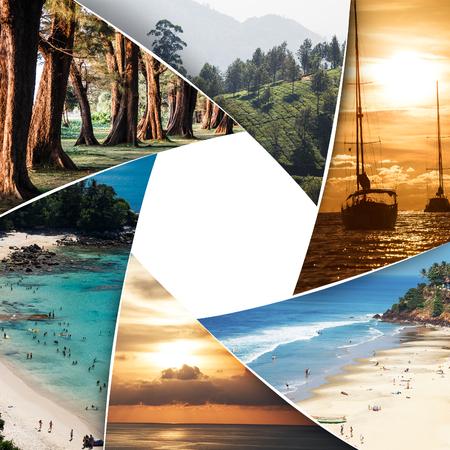 Collage de photos des mers tropicales avec espace