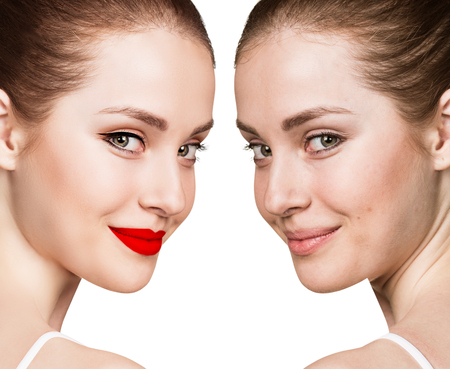 Comparison portrait of young woman with and without makeup Archivio Fotografico