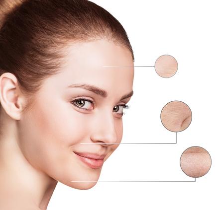 Cuidado de la piel y el concepto de salud - la cara de mujer joven con las arrugas en el fondo aislado
