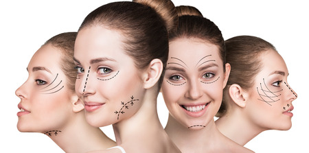 aging face: Anti aging treatment and plastic surgery concept. Beautiful faces of young woman with arrows isolated on white