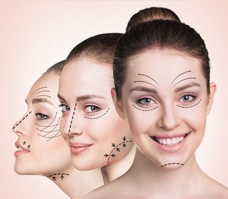 aging woman: Anti aging treatment and plastic surgery concept. Beautiful faces of young woman with arrows over biege background Stock Photo