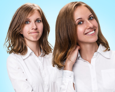 damaged: Hair before and after treatment. Haircare concept. Damaged Hair Treatment Stock Photo