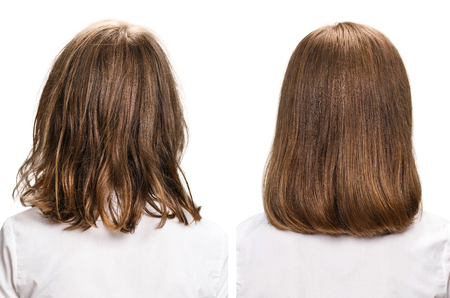 hair treatment: Hair before and after treatment. Haircare concept. Damaged Hair Treatment Stock Photo