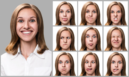 expressing: Collage of woman expressing different emotions over gray background Stock Photo