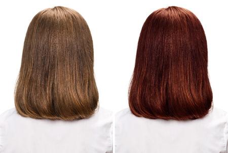前に、白で隔離の毛を染色後の女性の比較の肖像 写真素材