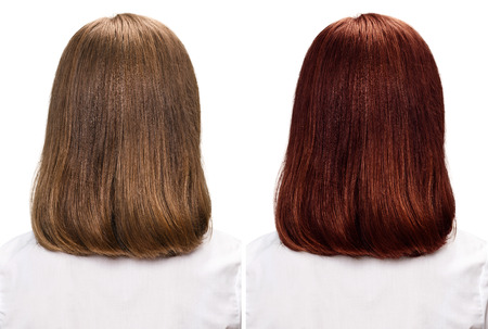Comparative portrait of woman before and after dyeing hairs isolated on white Zdjęcie Seryjne