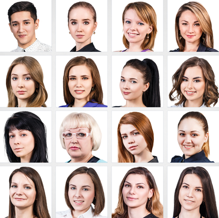 mixed age: Collage of diverse mixed age people smiling over white background Stock Photo