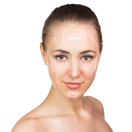 Contour and highlight makeup isolated on white. Professional contouring face make-up sample