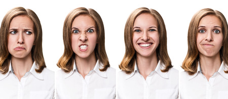 multiple: Multiple collage of a beautiful young woman with different expressions Stock Photo