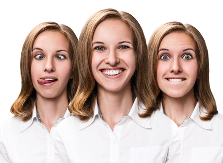 Collage of young woman makes fun faces isolated on white. Stock Photo