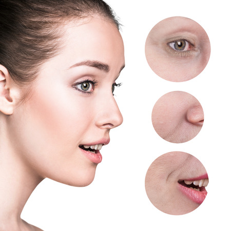regeneration: Skincare and health concept - beautiful young woman face with wrinkles isolated on background