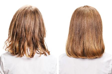Cabello antes y después del tratamiento. concepto del pelo hermosa sana