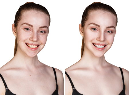 Comparison portrait of young girl with and without makeup Stock Photo