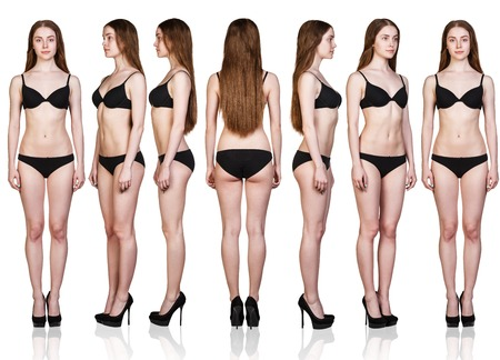 foreshortening: Set of woman full length figures from all angles in black underwear isolated on white background.