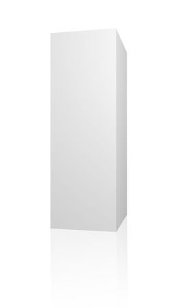 cuboid: White 3d box. Blank 3d box over white background Stock Photo