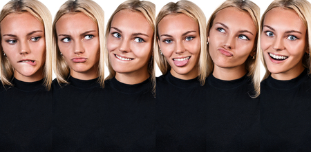 grimace: Collage of young funny woman showing grimace over white background Stock Photo