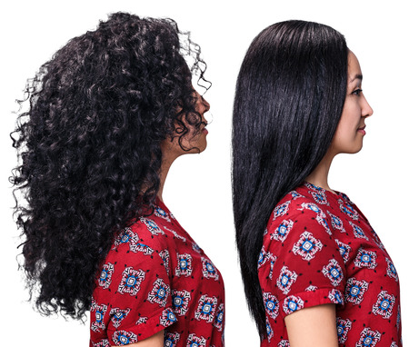 Young woman with hair before and after straightening over white background