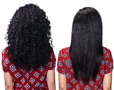 peluqueria: Espalda de la mujer con el pelo antes y después de enderezar sobre el fondo blanco Foto de archivo