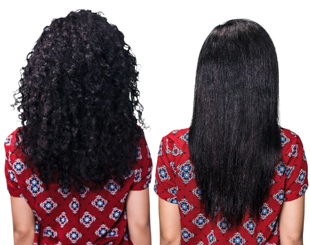 Female back with hair before and after straightening over white background Stockfoto