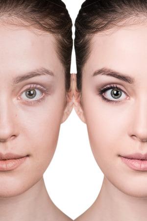 retrato comparativo de la cara femenina, con y sin maquillaje