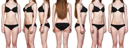 Set of woman figures from all angles in black underwear isolated on white background.