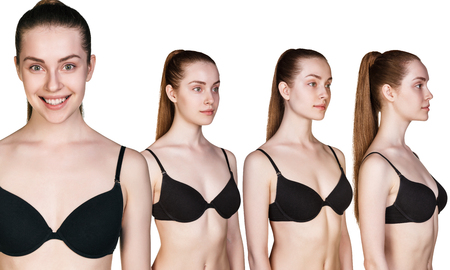 Several portraits of young woman figures in different angles in black underwear
