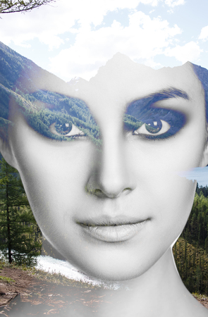 Double exposure portrait of young woman with make-up and nature Stock Photo