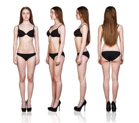 Ensemble de femme chiffres de pleine longueur sous tous les angles en sous-vêtements noir isolé sur fond blanc. Banque d'images