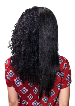 Young woman with black hair before and after straightening over blue background Stockfoto