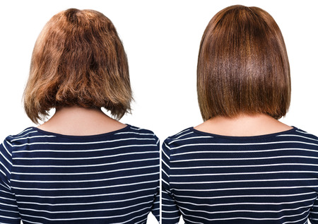 champu: retrato comparativo del cabello dañado antes y después del tratamiento Foto de archivo