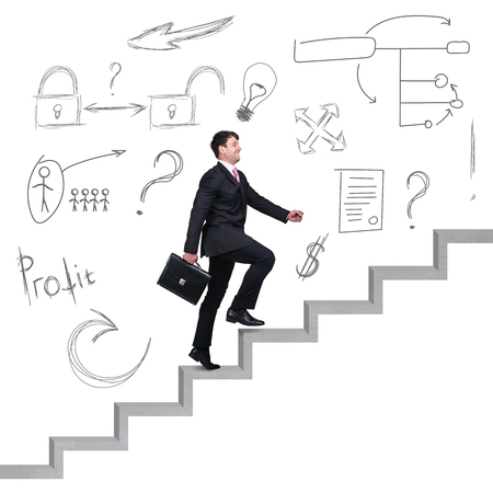 Businessman climbing the career stairs with icons over head isolated on white.