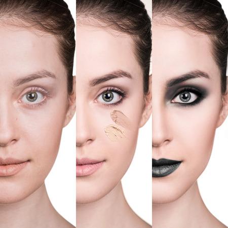 Frau vor und nach dem Schritt für Schritt Auftragen von Make-up. Standard-Bild