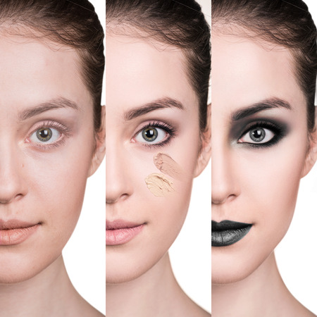 Woman before and after step by step applying make-up. Stock fotó
