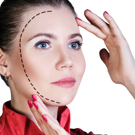 Beautiful woman face with dotted line. Lifting and make-up concept.