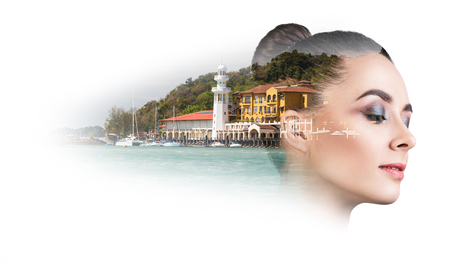Double exposure of beautiful young woman with resort harbor over white background Stock Photo
