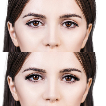 master volume: Female eyes before and after eyelash extension Stock Photo
