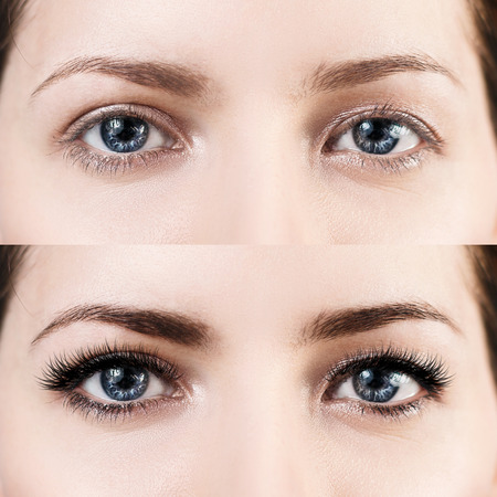 Female eyes before and after eyelash extension. Фото со стока