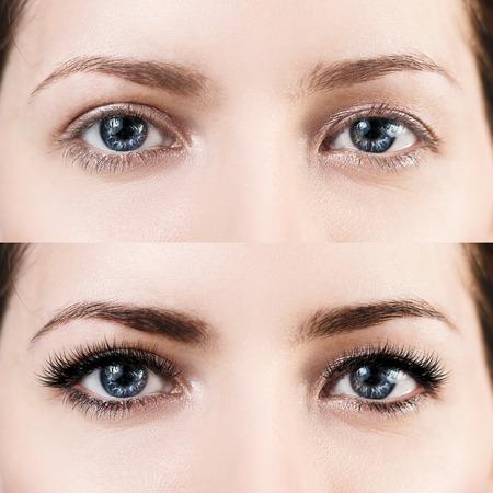 Ojos femeninos antes y después de la extensión de pestañas.