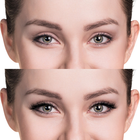 Female eyes before and after eyelash extension Stok Fotoğraf