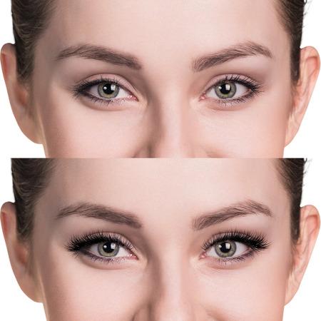 Ojos femeninos antes y después de la extensión de pestañas Foto de archivo