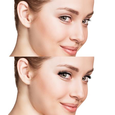 Vrouwelijke ogen voor en na de wimper verlenging