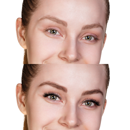 Female eyes before and after eyelash extension. Stockfoto